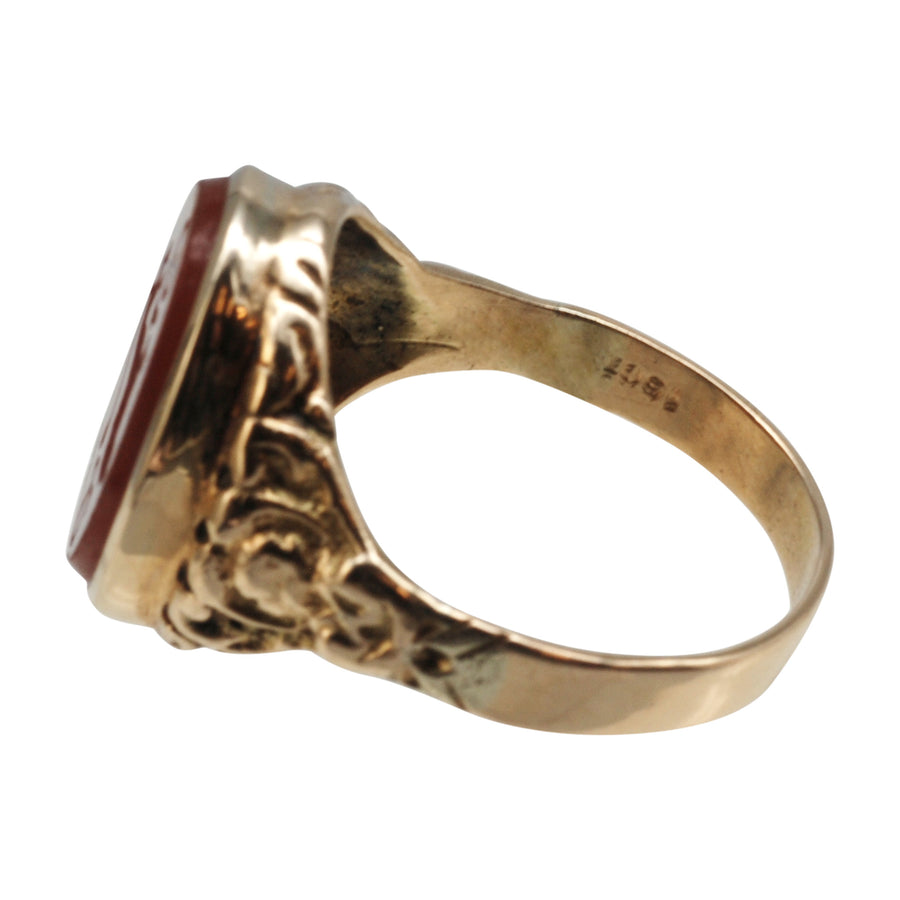 Antique 15ct Gold And Carnelian Intaglio Ring - side details