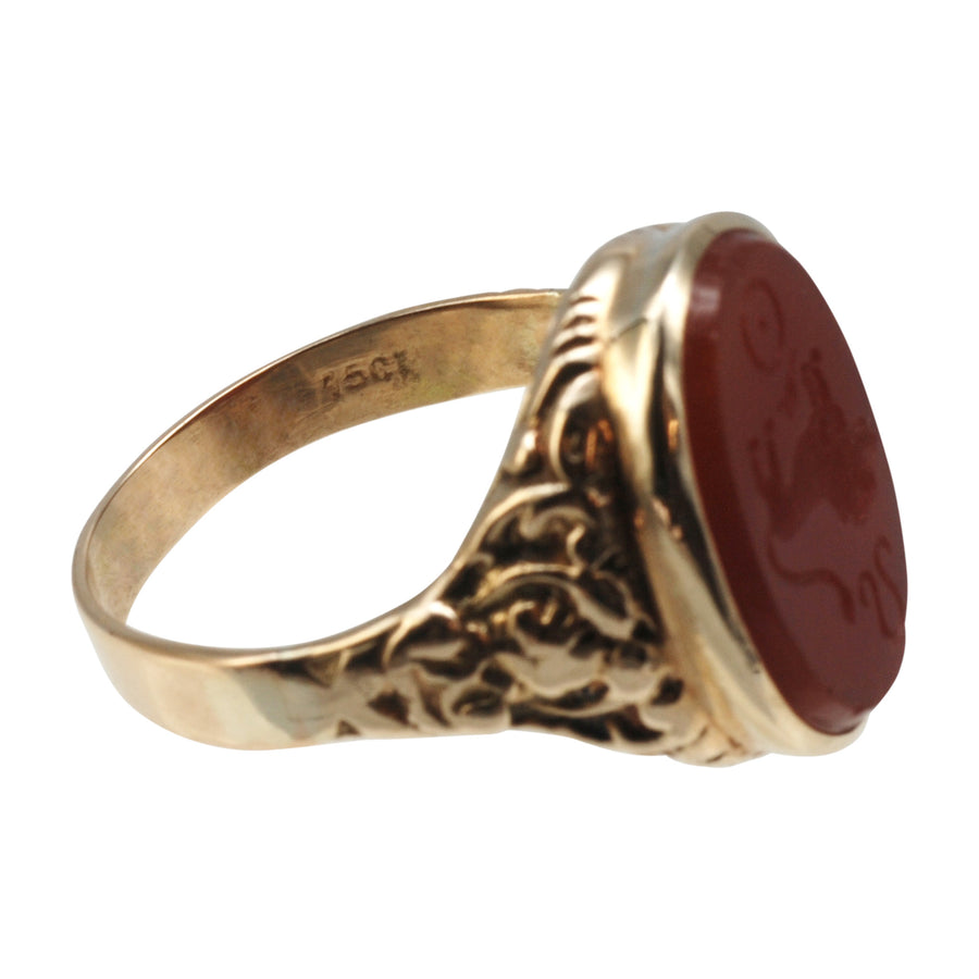 Antique 15ct Gold And Carnelian Intaglio Ring - mark