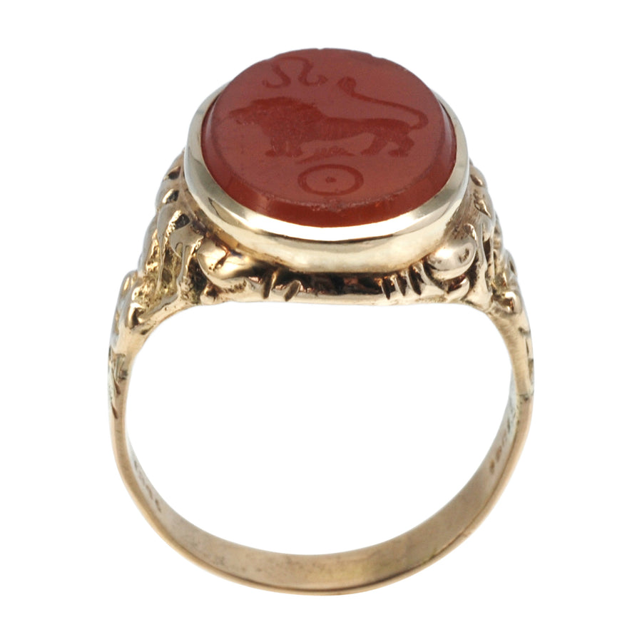 Antique 15ct Gold And Carnelian Intaglio Ring - upright