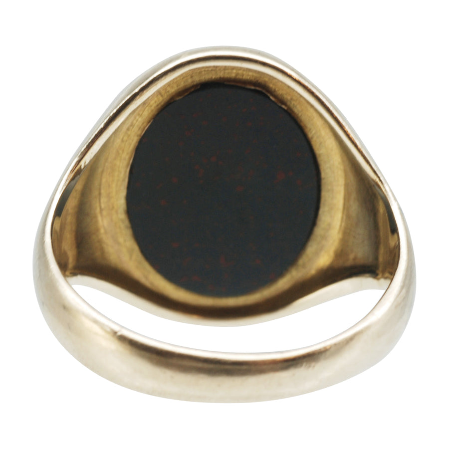 Vintage 9ct Gold and Bloodstone Signet Ring - back