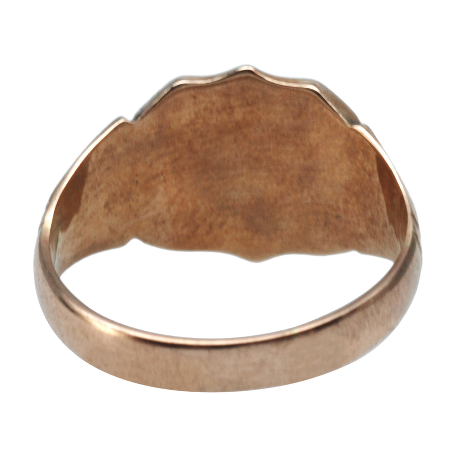 Edwardian Antique 9ct Rose Gold Signet Ring - back