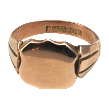 Edwardian Antique 9ct Rose Gold Signet Ring - front