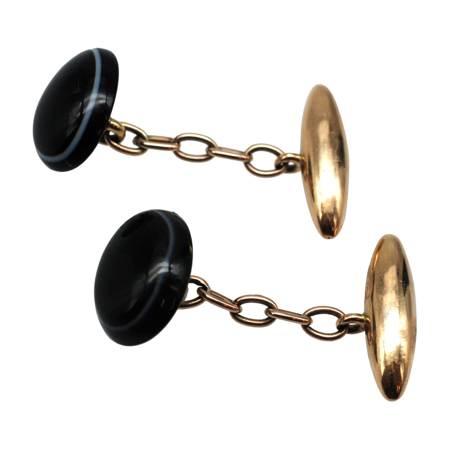 Antique 15ct Gold And Banded Agate Cufflinks - Full