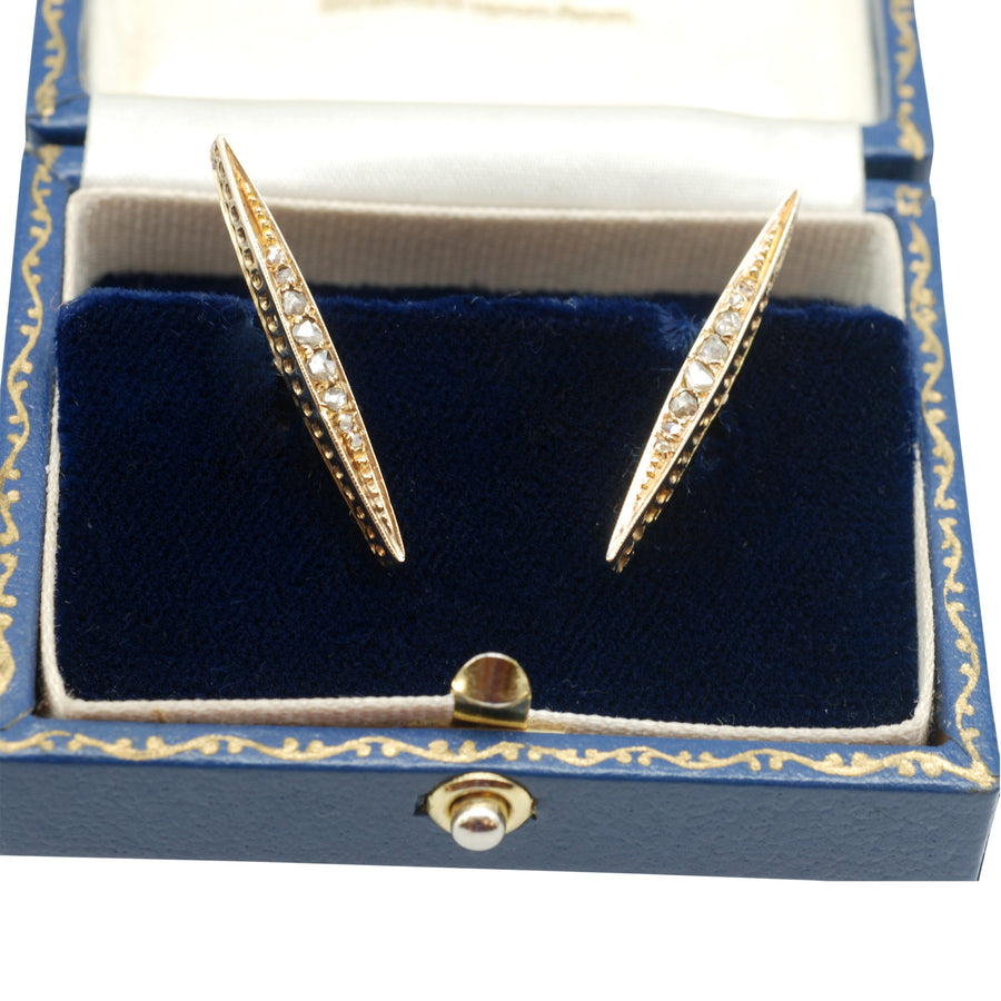 Antique Rosecut Diamond And 18ct Yellow Gold Cufflinks - front