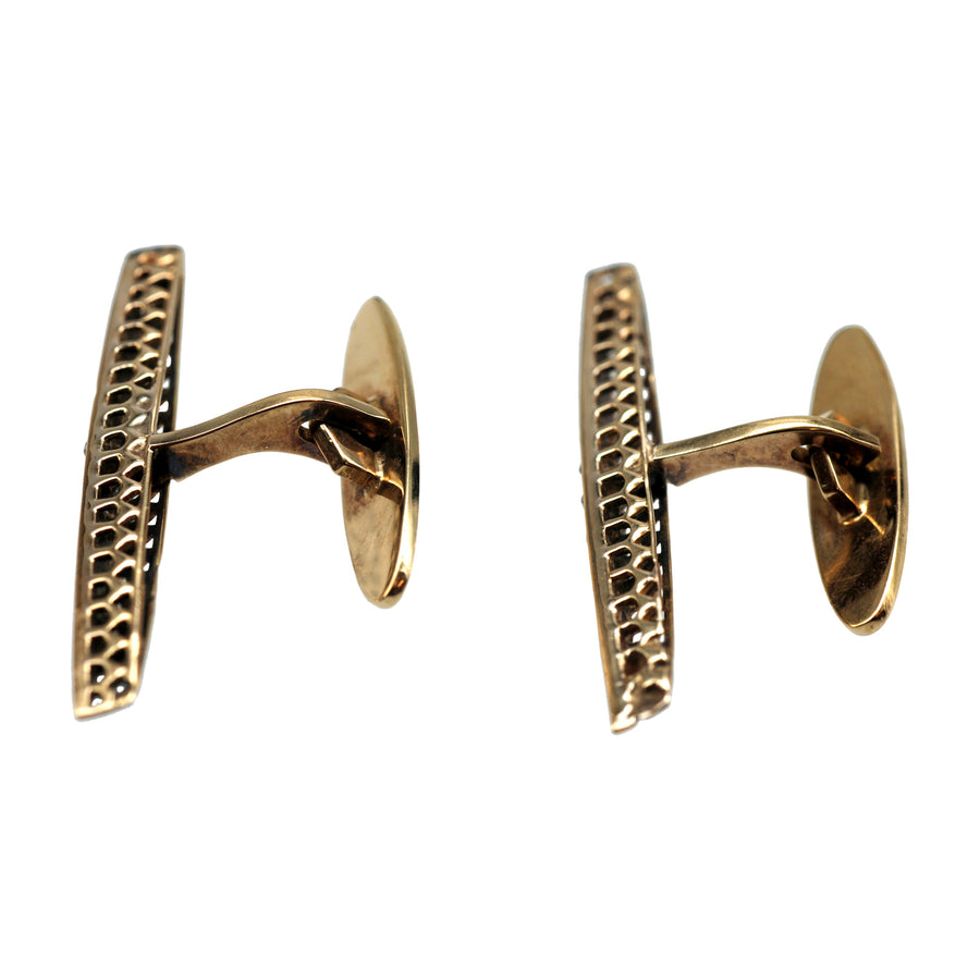 Antique Rosecut Diamond And 18ct Yellow Gold Cufflinks - full