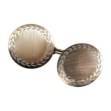 Deco 9ct Gold And Enamel Circular Cufflinks - front