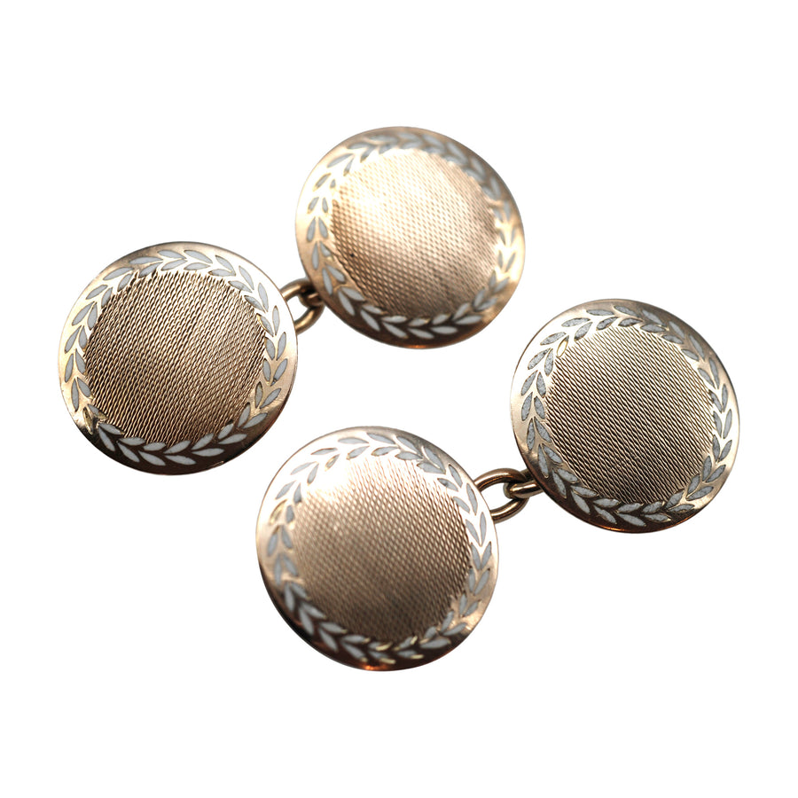 Deco 9ct Gold And Enamel Circular Cufflinks - angle