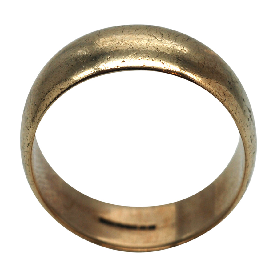 Vintage 9ct gold, wide wedding band.