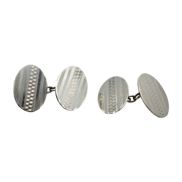 Deco Sterling Silver Cufflinks - front