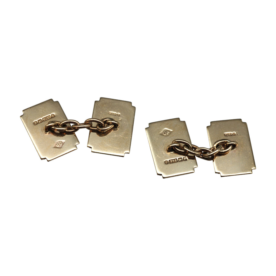 Antique Deco 9ct Yellow Gold Cufflinks - back
