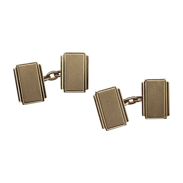 Antique Deco 9ct Yellow Gold Cufflinks - front