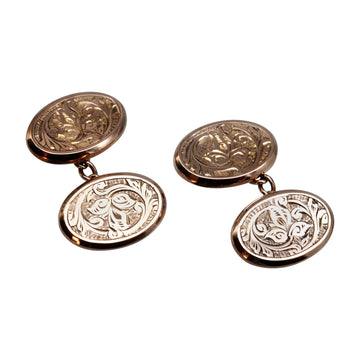 Antique Edwardian 9ct Rose gold engraved cufflinks