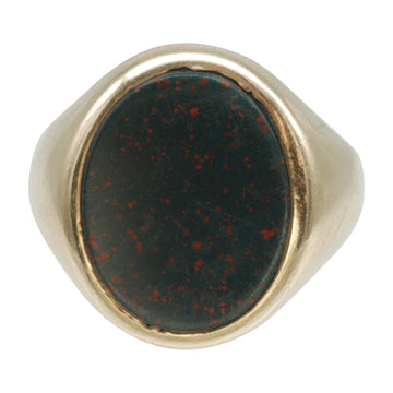 Vintage 9ct Gold and Bloodstone Signet Ring - front