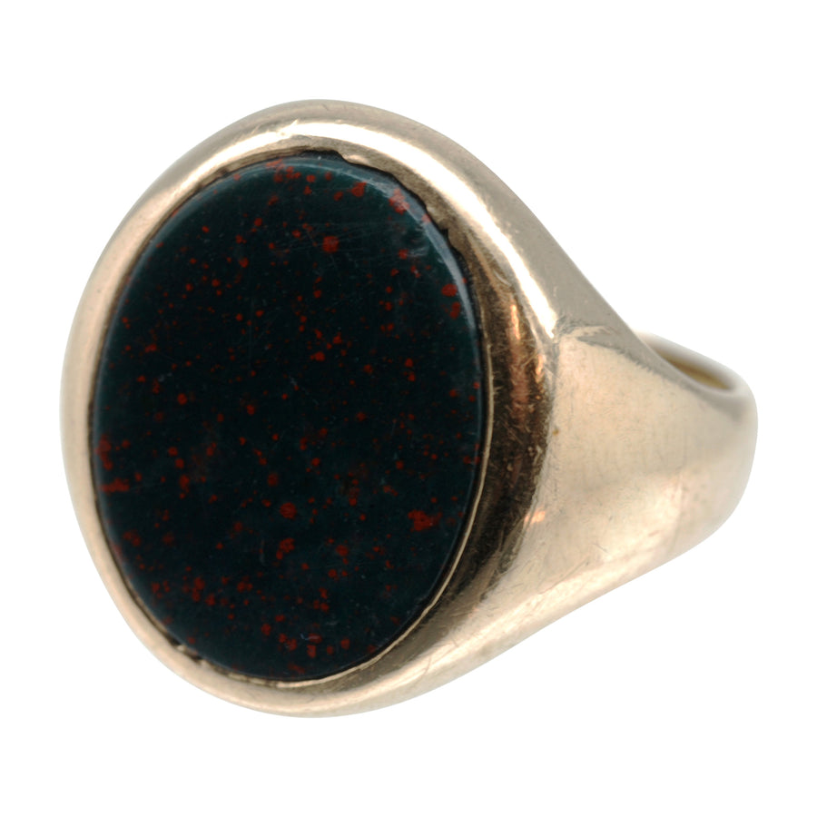 Vintage 9ct Gold and Bloodstone Signet Ring - other side