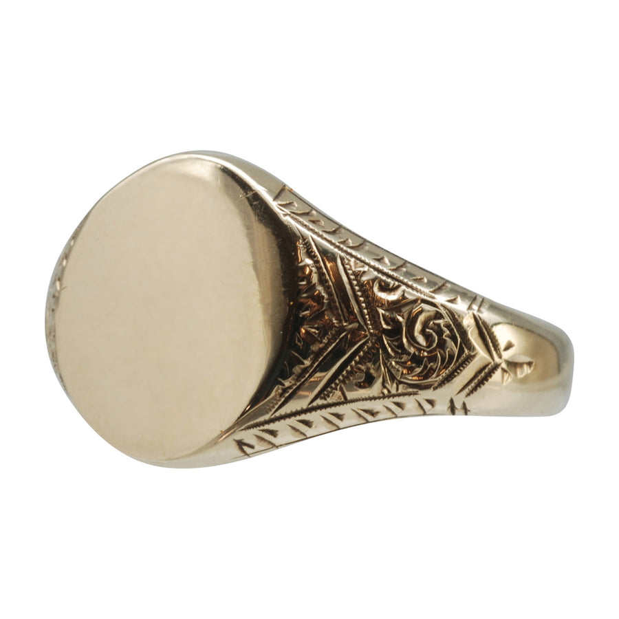 9ct  Yellow Gold Deco Signet Ring