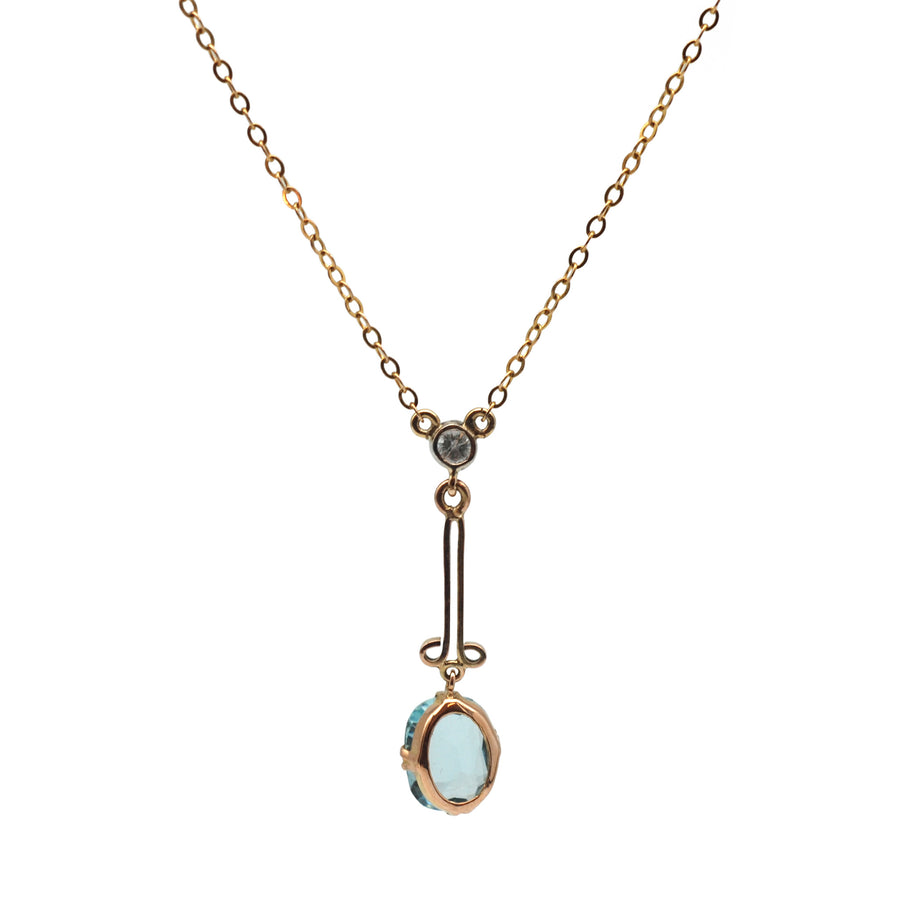 1940's 9ct Blue Topaz & Diamond Pendant On Chain - Back