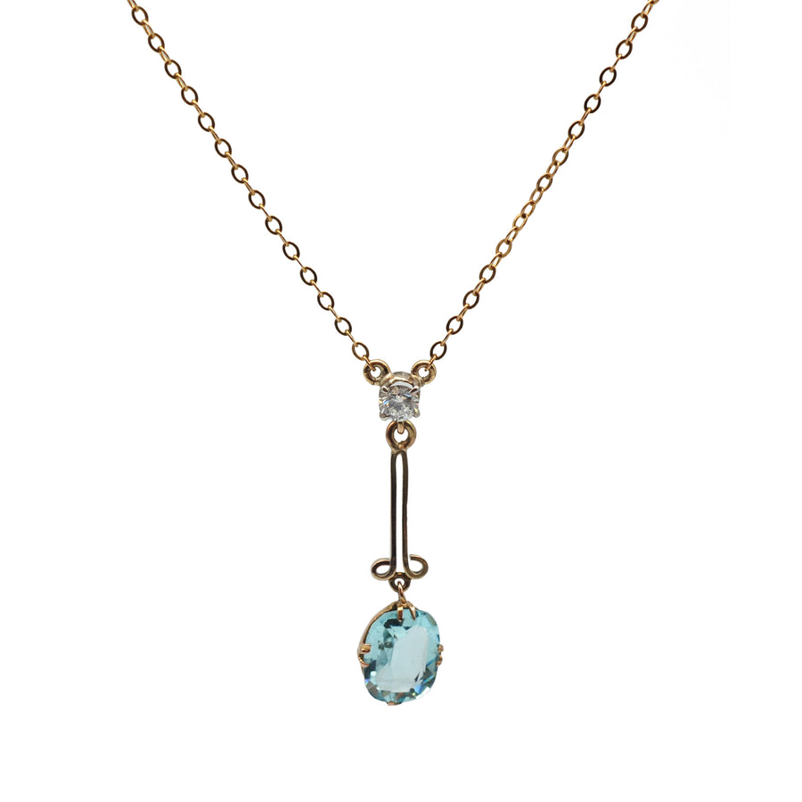 1940's 9ct Blue Topaz & Diamond Pendant On Chain - Front Close up