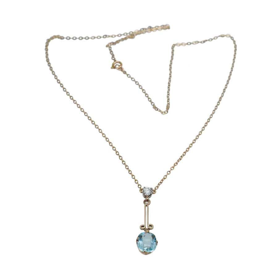 1940's 9ct Blue Topaz & Diamond Pendant On Chain - Full Front