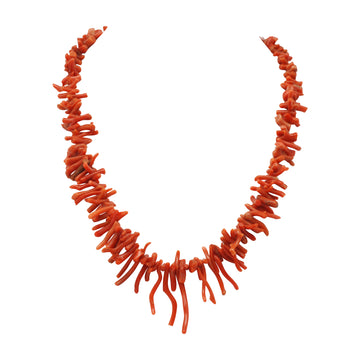 Edwardian Natural Coral Bark Necklet C1900 - full