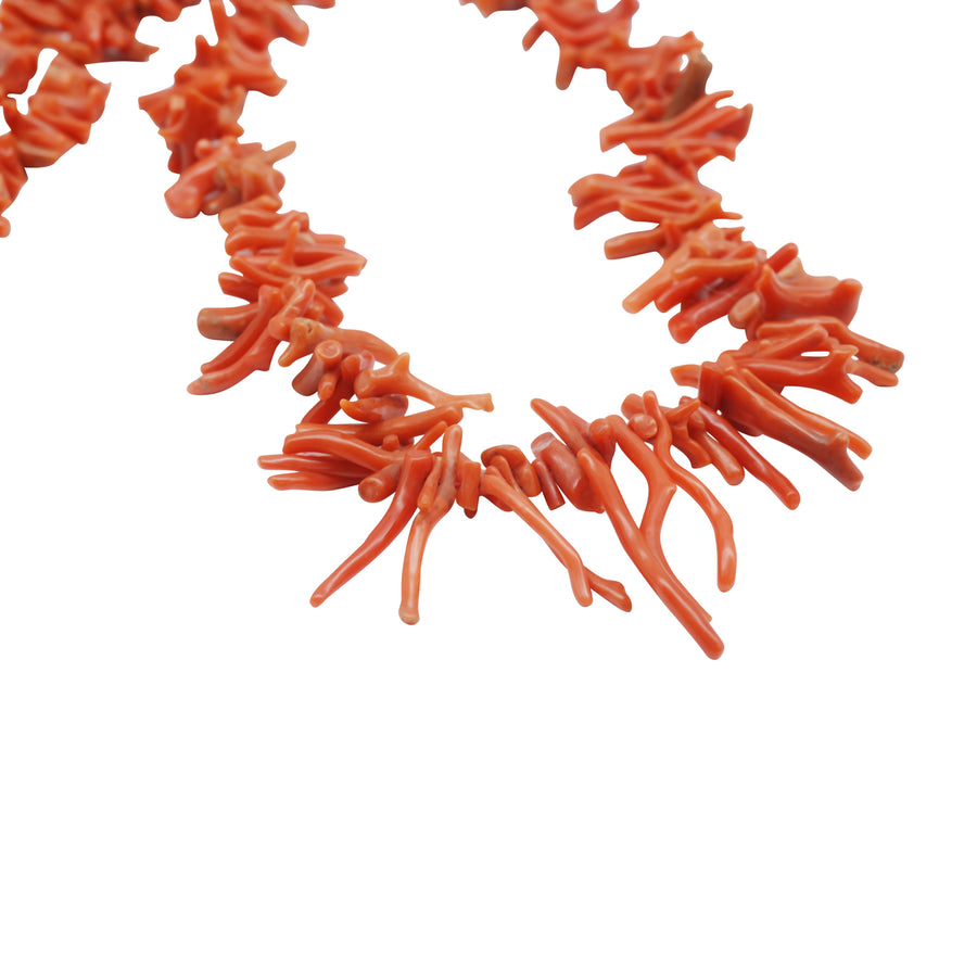 Edwardian Natural Coral Bark Necklet C1900 - close up