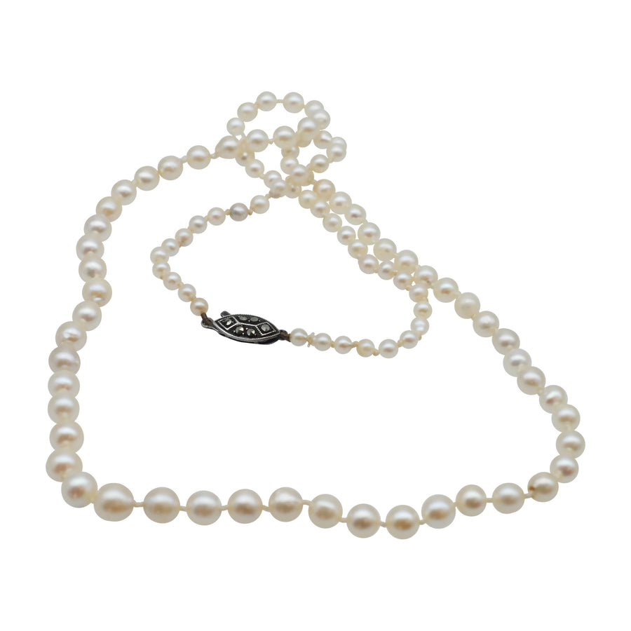 Vintage Graduated Cultured Pearls with Silver Marcasite Clasp