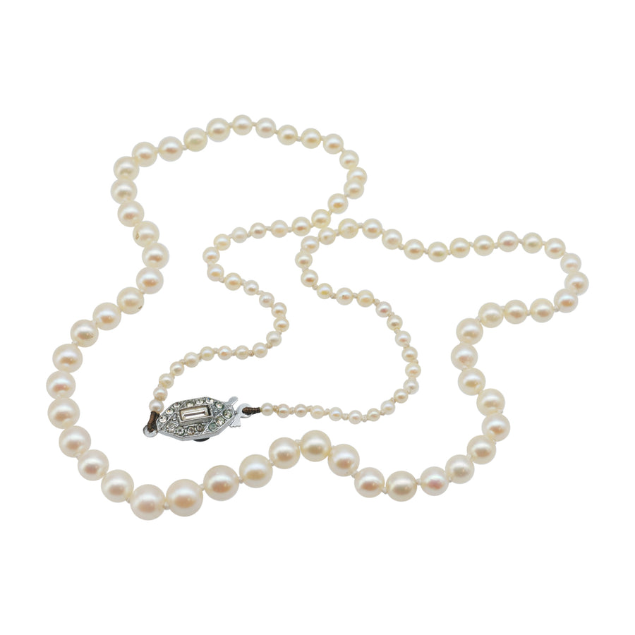 Creamy Vintage Graduated Pearls with Paste Clasp