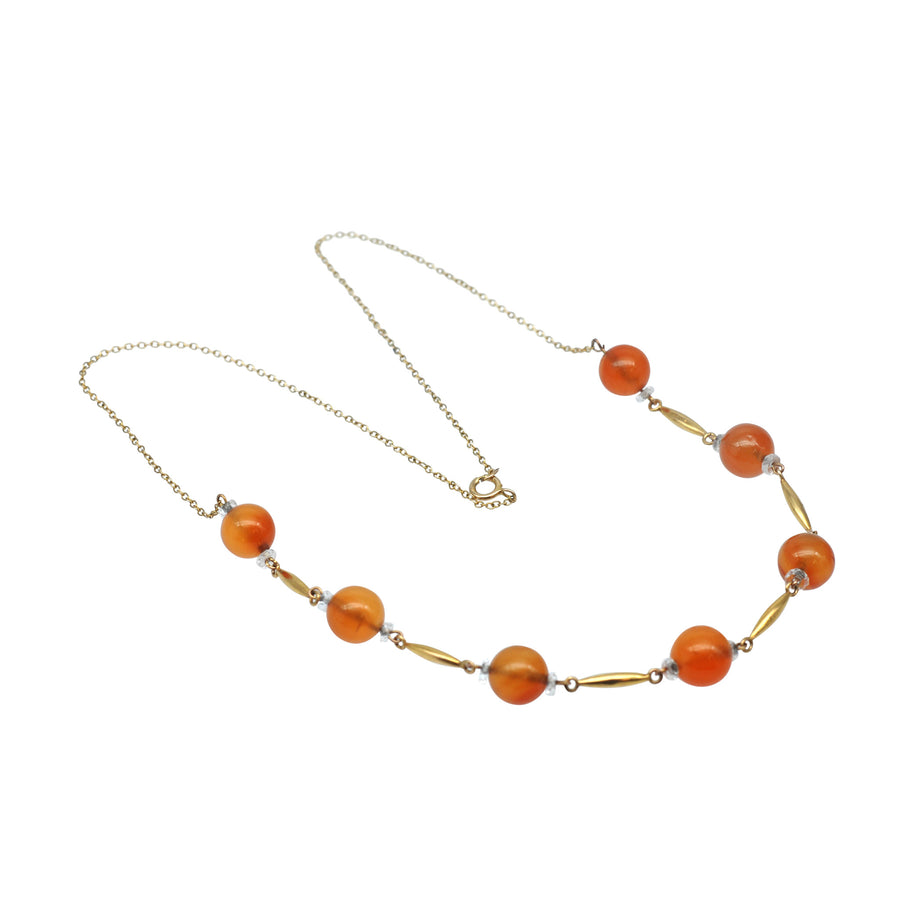 1930's 9ct Gold Carnelian and Crystal necklet