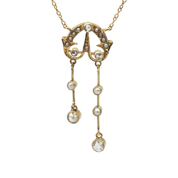 Edwardian Negligee Necklet with Rose Cut Diamond and Seed Pearls