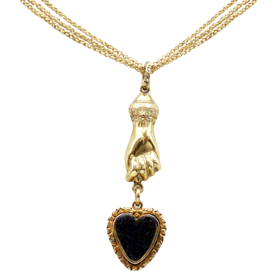Georgian 18ct Heart Hand Necklet On Chain - close up