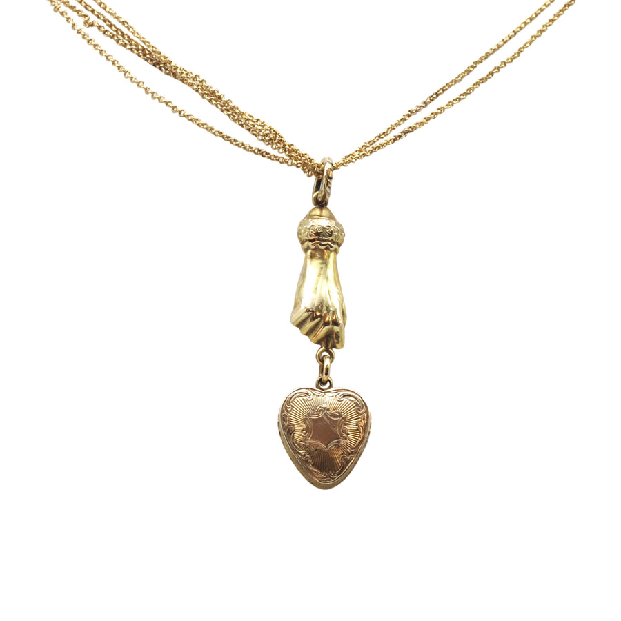Georgian 18ct Heart Hand Necklet On Chain - front