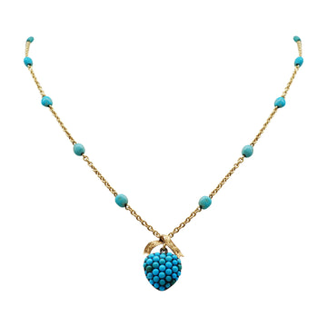 Early Victorian 9ct Gold and Turquoise Necklet with 18ct Turquoise Locket