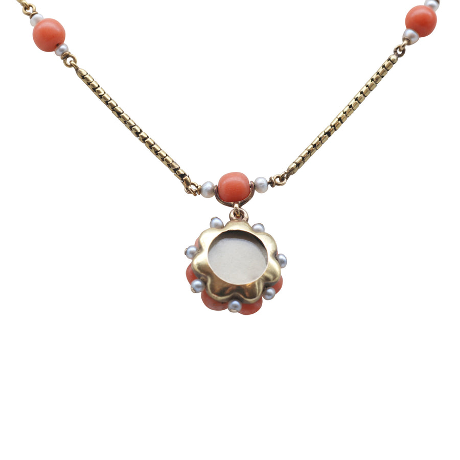 Georgian 15ct Gold And Coral And Rose Cut Diamond Necklet - back of locket