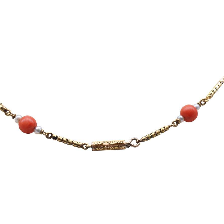 Georgian 15ct Gold And Coral And Rose Cut Diamond Necklet - chain
