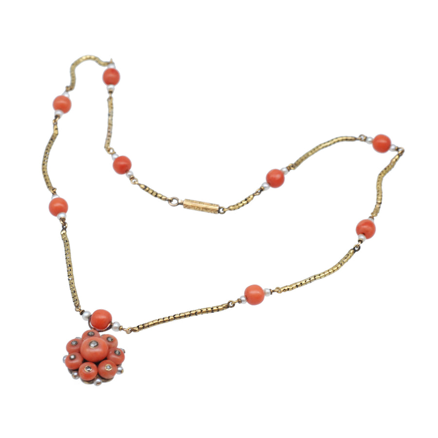 Georgian 15ct Gold And Coral And Rose Cut Diamond Necklet - overall