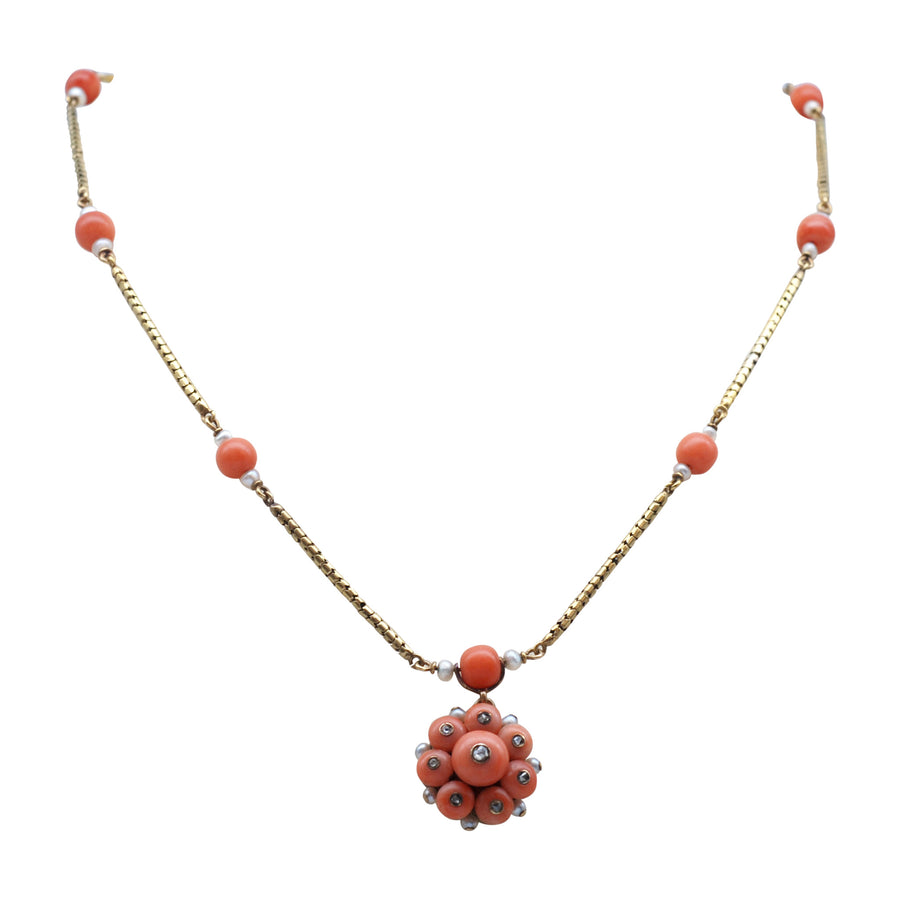 Georgian 15ct Gold And Coral And Rose Cut Diamond Necklet - full