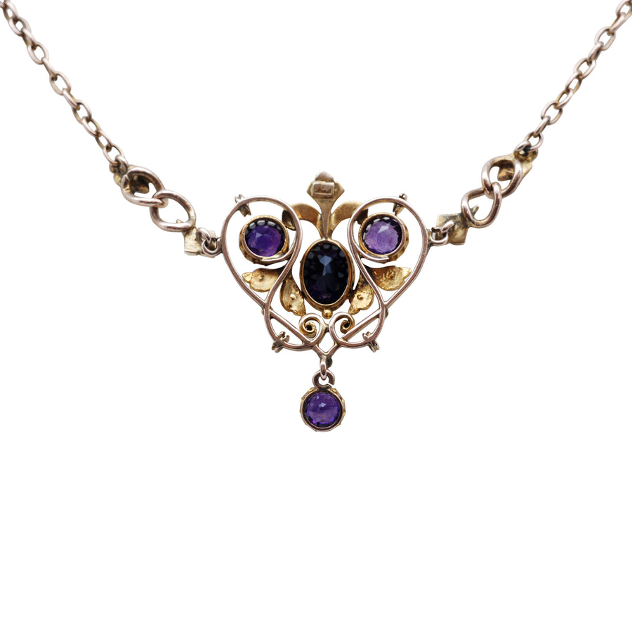Art Nouveau 9ct Gold Amethyst & Seed Pearl Negligee Necklet - back