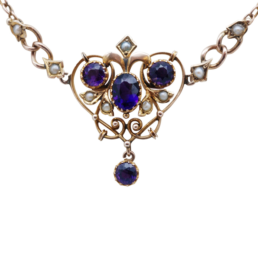 Art Nouveau 9ct Gold Amethyst & Seed Pearl Negligee Necklet - close up