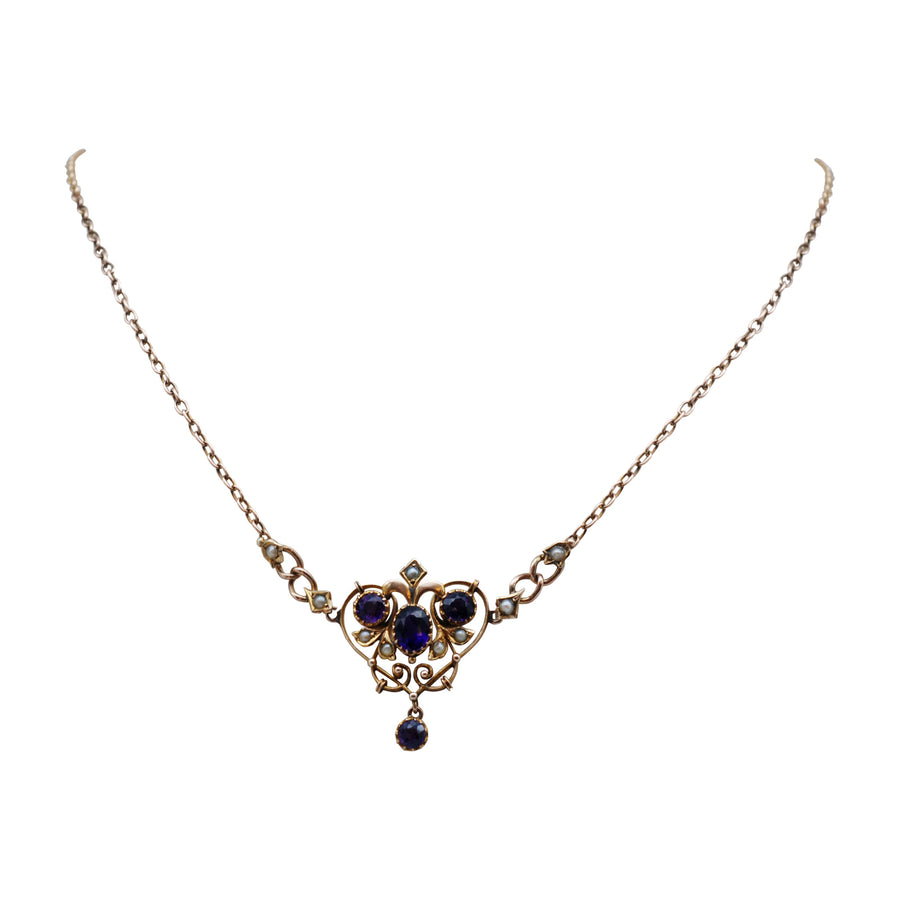 Art Nouveau 9ct Gold Amethyst & Seed Pearl Negligee Necklet - Whole front