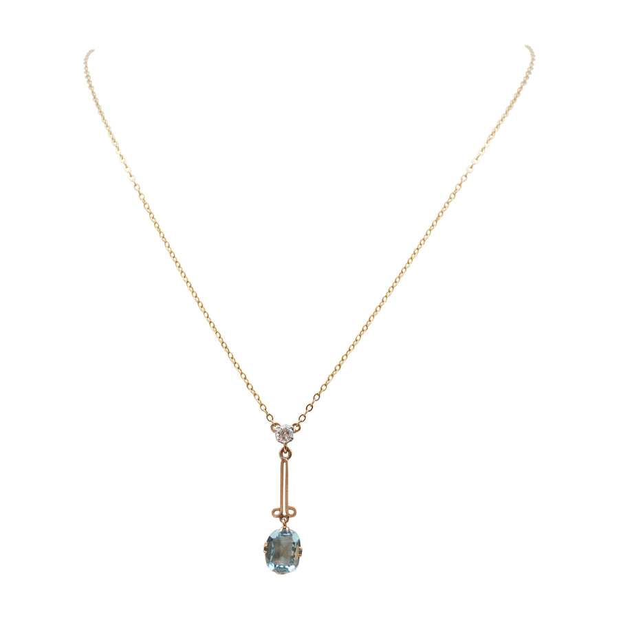 1940's 9ct Blue Topaz & Diamond Pendant On Chain - Bust