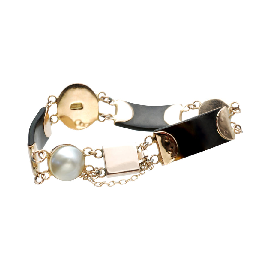 Edwardian 15ct rose gold and mabe pearl bracelet