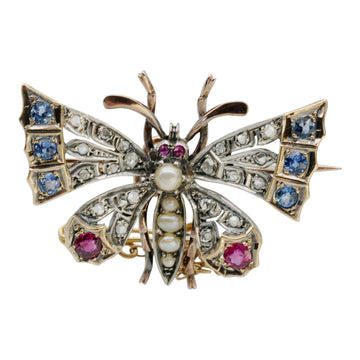 Victorian gem set Butterfly brooch