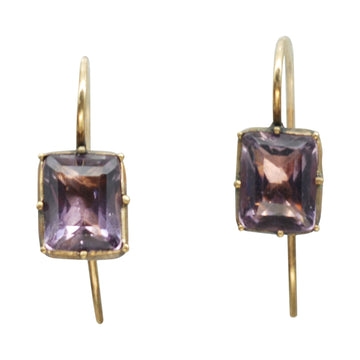 Early Victorian Pinchbeck and Amethyst Paste Earrings