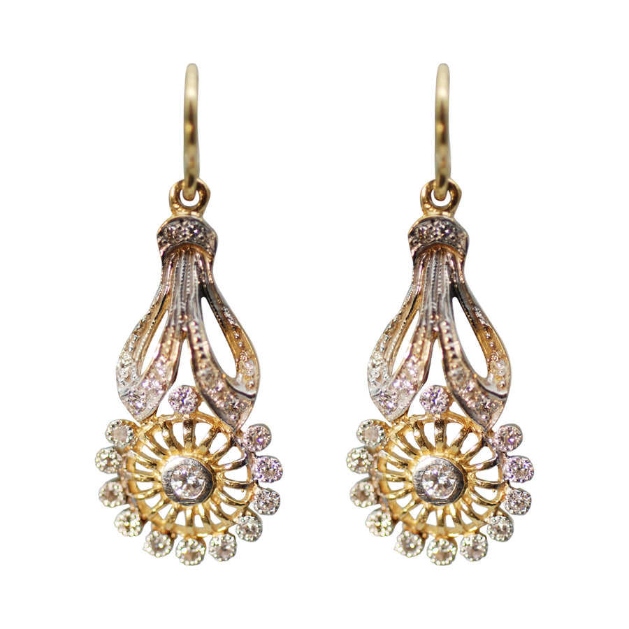 Mid Century Diamond and 2 tone 18ct  Gold Drop Earrings