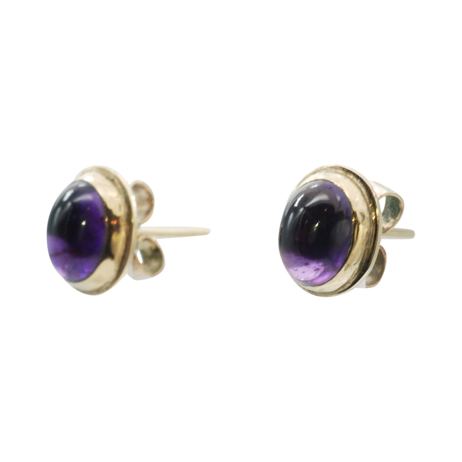 Handmade 1930's  Rose Gold and Cabochon Amethyst Stud Earrings.