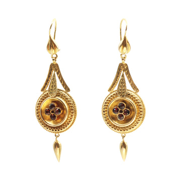 Victorian 15ct Gold and Garnet Etruscan Revival Earrings
