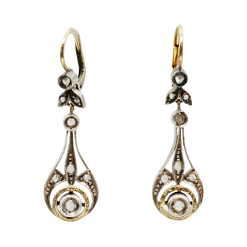 Arts and Crafts rose cut diamond drops with solid gold highlights.