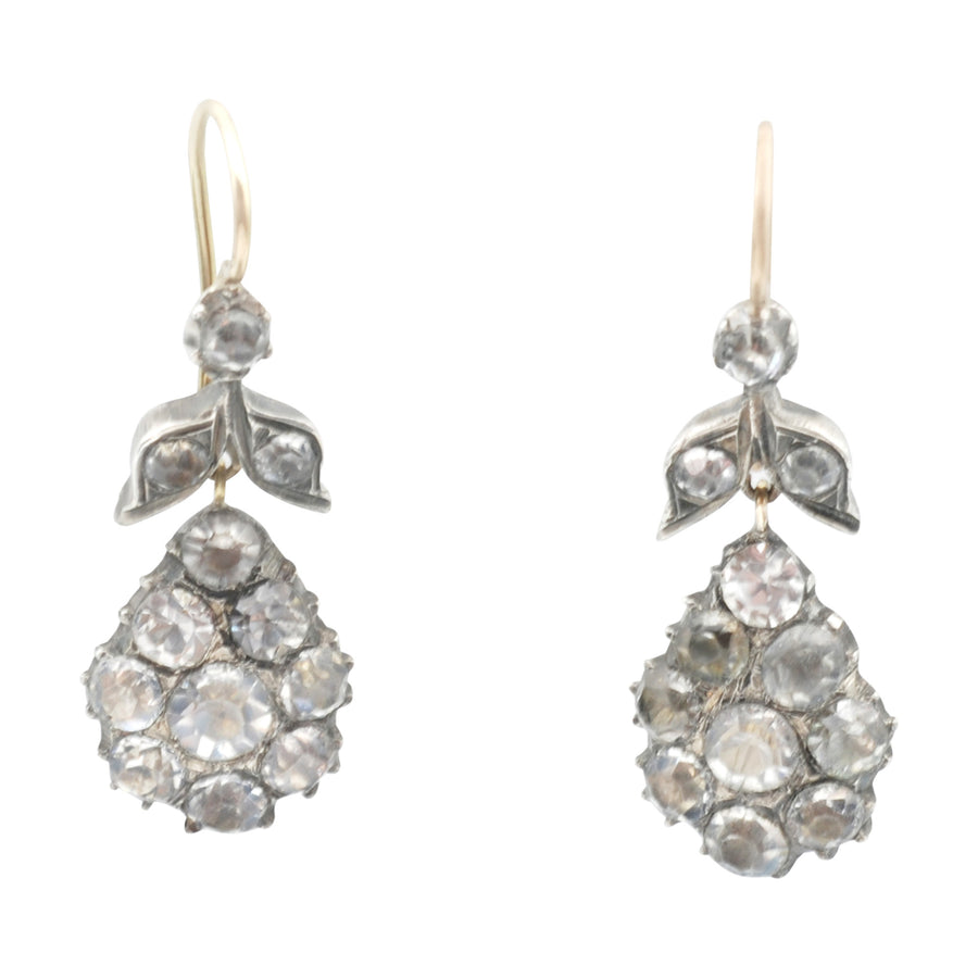 Georgian silver and gold earrings, closed-back set in silver with faceted diamond paste stones