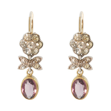 Late Victorian Gold and Silver earrings with diamond paste and amethyst paste drop.