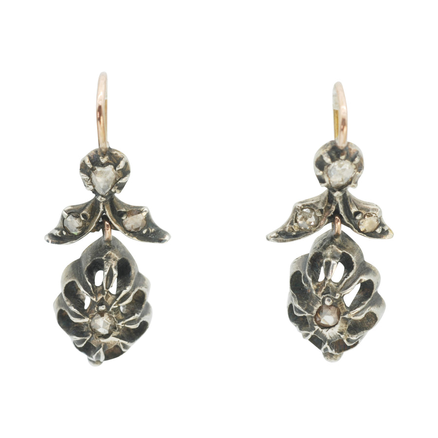 Georgian rose-cut diamond drop earrings in silver and gold