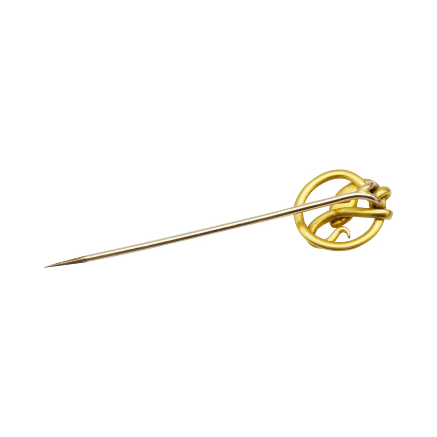 French Victorian FIX snake stick pin with garnet eyes .